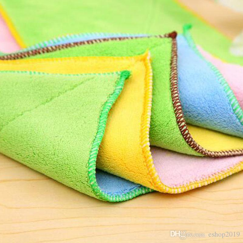 Ultrafine fiber double-sided absorbent wipes thicker no hair loss non-stick oil wash bowl towel kitchen dish cloth