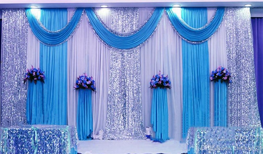 fondale con paillettes dense swags party sfondo valance wedding backcloth stage curtain3 * 6m (10ft * 20ft) funerale scenografia church Stage