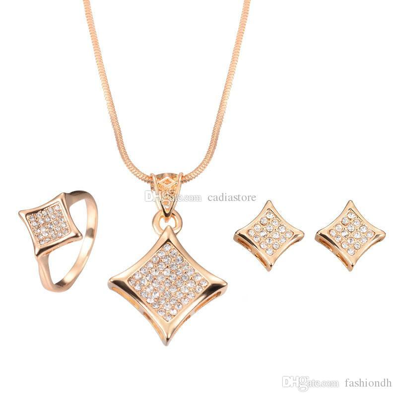 Simple Fashion Jewelry Set Square Rhinestone Gold Necklace And ...