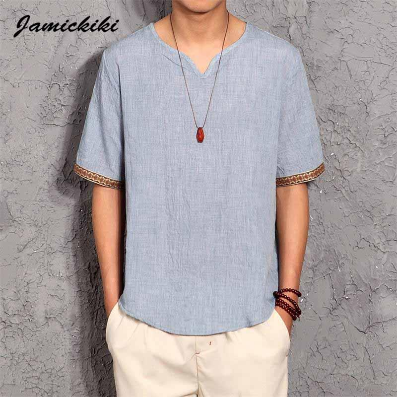907d4c591ad Wholesale Korean Style Mens T Shirts 2016 Summer Fashion Mens V Neck Cotton  And Linen T Shirt Homme Baggy Tops Tees High Quality XXXXXL Awesome T Shirt  ...