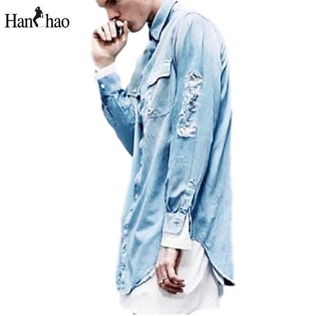 Wholesale Ripped Jeans Shirt Men 2017 Autumn Hi Fashion Front Short