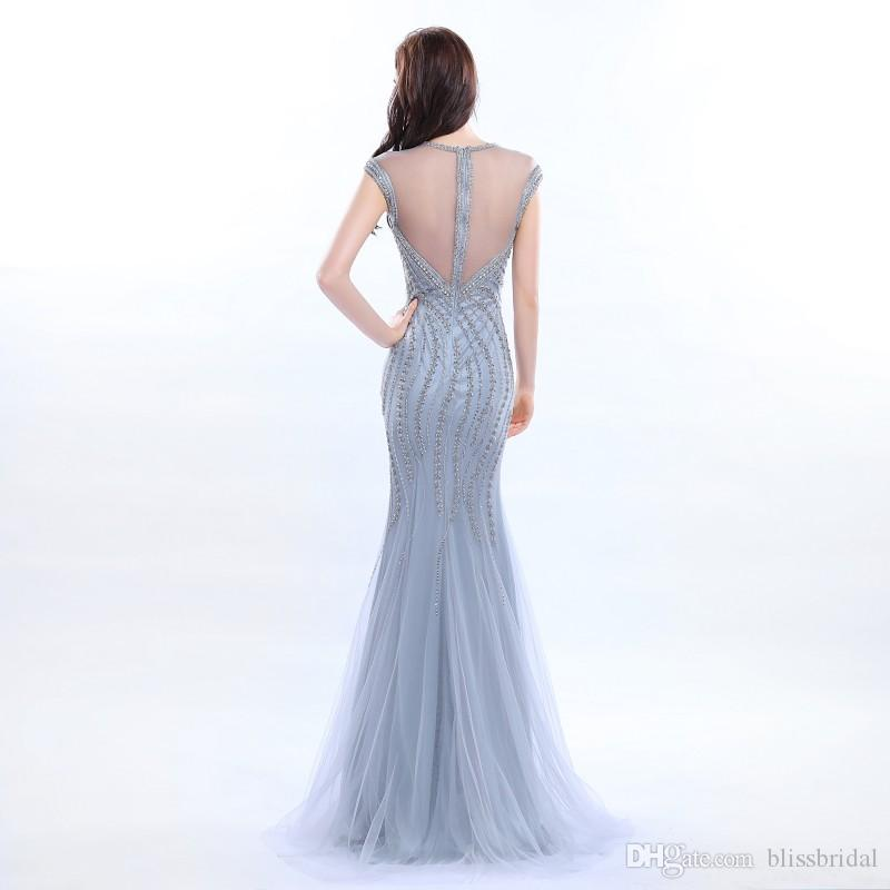 Amazing Sexy Beaded Neckwear Floor Length Evening Dress Tulle Sequins Elegant Prom Gown Long Mermaid Backless Sweetheart Party dresses