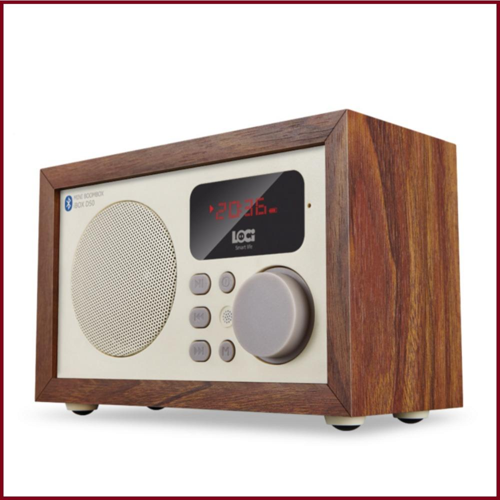 9226c02eb Wholesale D50 Retro Multifunction Wood Bluetooth Speaker With FM Radio  Support Alarm Clock Display Time Clock Radio Portable Radio From Baiheyu
