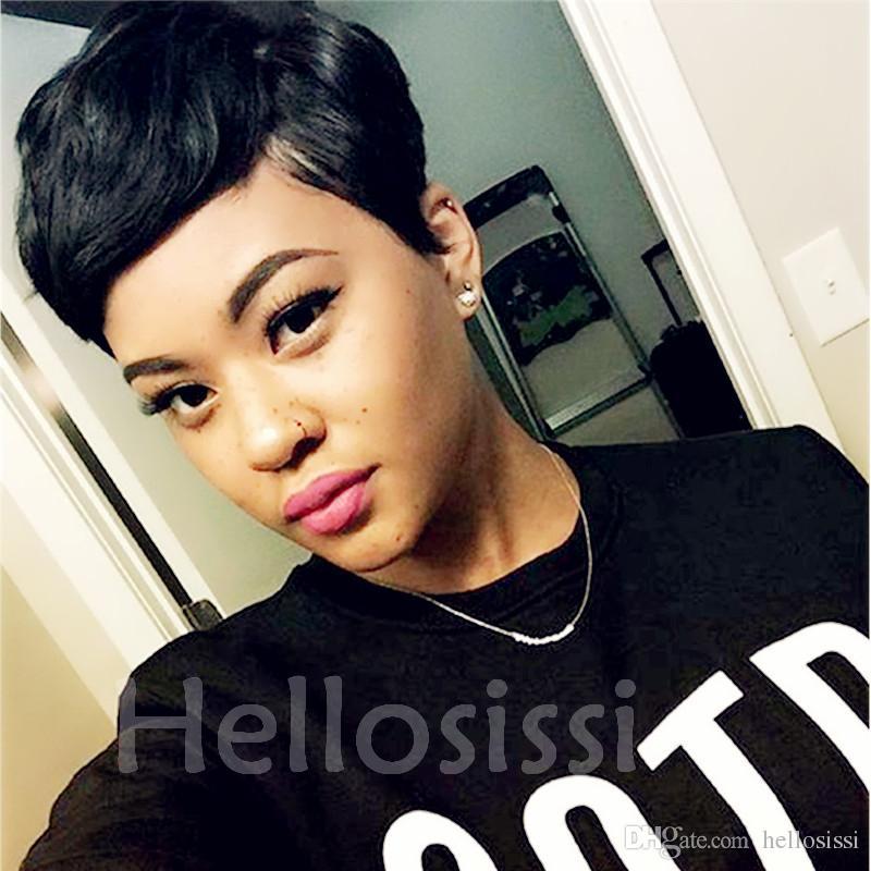 New Human Hair Wig Short Pixie Cut Wig Ladies Black Short Cut Wigs ...