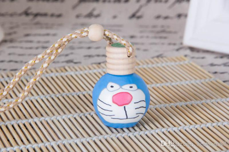 Lowest Price Car Hanging Rope Empty Decoration Bottle Hand Made Polymer Clay Ceramic Essential Oil Perfume Bottle With Wooden Lid By DHL