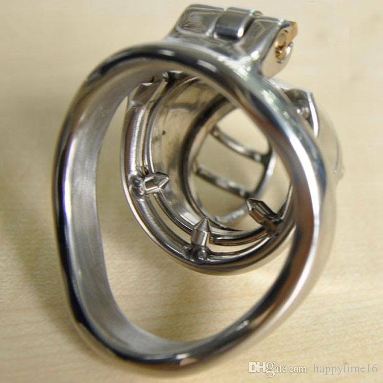 China Small Male Chastity Device with Anti-off Spike Ring Stainless Steel Cock Penis Cage Chastity Belt BDSM Sex toys For Men
