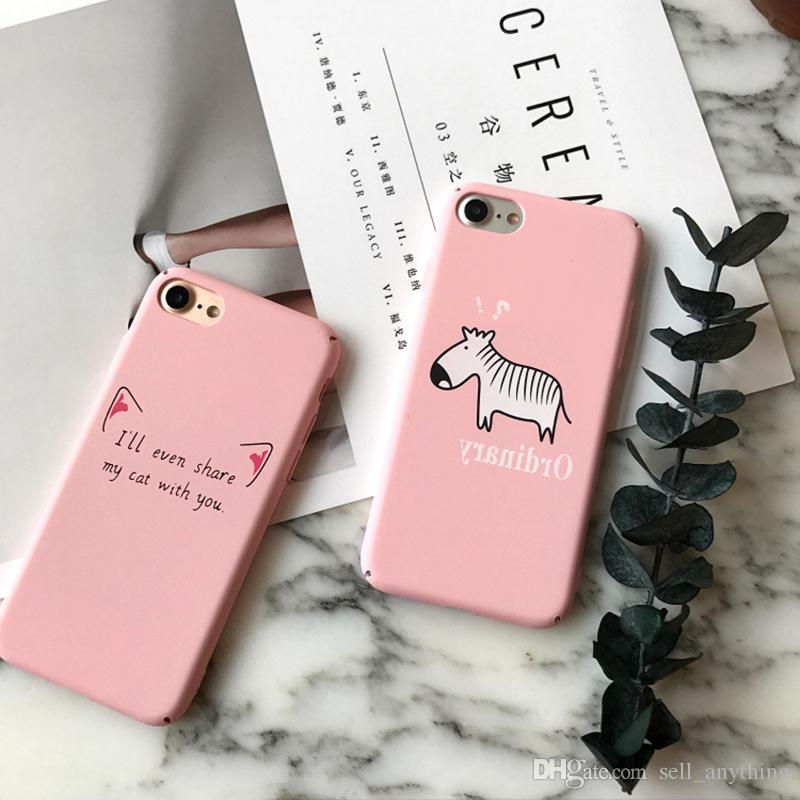 Iphone 7 için Telefon Kılıfı Mat Karikatür Zebra Kedi Kulaklar Her şey dahil Hayvan Resim Cep Telefonu Kılıfı Toptan Iphone 7 6 6 s Artı