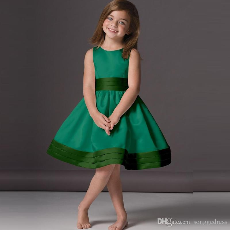 d018529a0 2018 Cheap Emerald Green Flower Girl Dresses A Line Scoop Knee Length Satin  Sleeveless Puffy Party Wear Girls Gown Custom Made White Girls Dresses  Winter ...