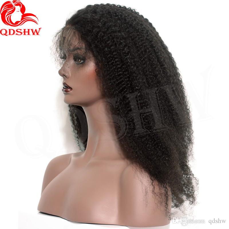 Afro Kinky Curly Human Hair Wigs Virgin Mongolian Hair Lacefront Wig Glueless Virgin Afro Curly Full Lace Wigs For Black Women