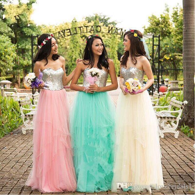preiswerte Art und Weise der Brautjunferkleides Schatzsequin-Tüll bodenlange ärmellos A-Linie im freien Verschiffen Lager des Brautjunferkleides