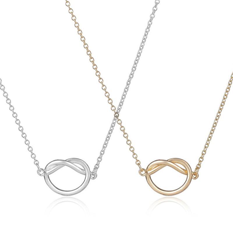 Moda nó pingente colares, um lindo amarração pingente colares. Personalidade amor complexo clavícula cadeia colares para as mulheres