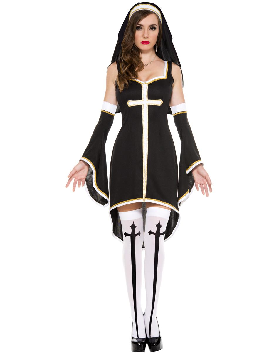 dda5d507fb1 Sexy Nun Costume Adult Women Cosplay Dress With Black Hood For Halloween  Sister Cosplay Party Costume Wholesale Couples Costumes Couple Halloween  Costumes ...