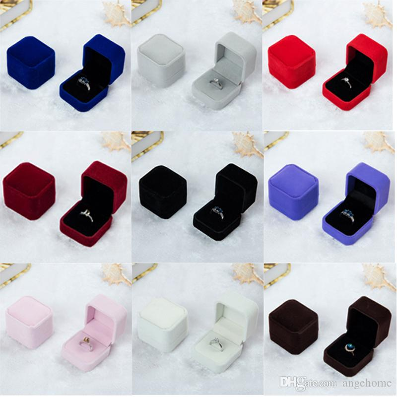 Square Velvet Ring Retail Box (8 Colors Available) Wedding Jewellery Earring Ring Holder Storage Box Gift Packing Box For Jewelry