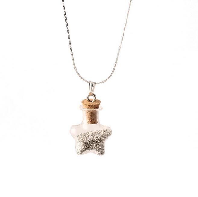 Diy Kork Glas Halskette Reisperle fünfzackigen Stern Flasche Glückswunsch Flasche Verkauf WFN300 mit Kette Mischungsauftrag 20 Stück viel