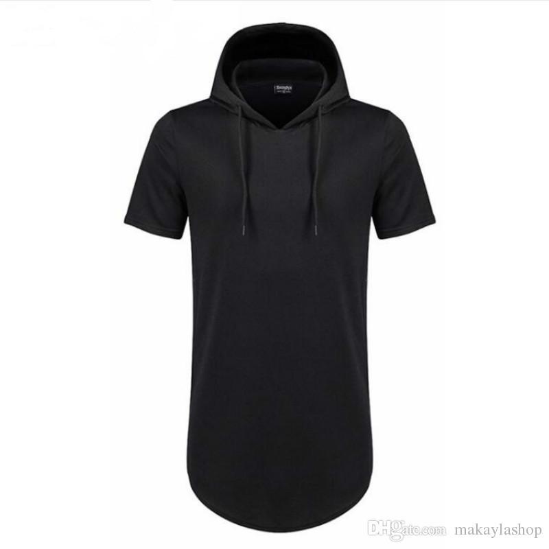 f770074eee8 Mens Hooded T Shirt Hipster Hip Hop Streetwear T Shirt Men Longline Zipper  T Shirts Short Sleeve Tees
