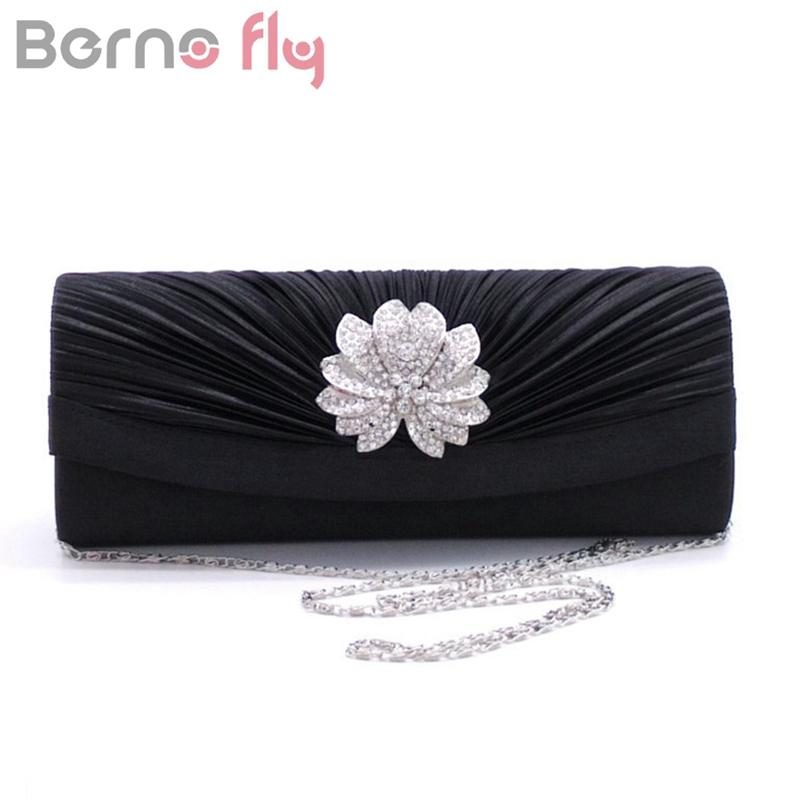 Berno fly Women Pleated Evening Hand Bag Crystal Dressed Clutch Bags Wedding Party Chain Purse Small Handbag Mini Day Clutches