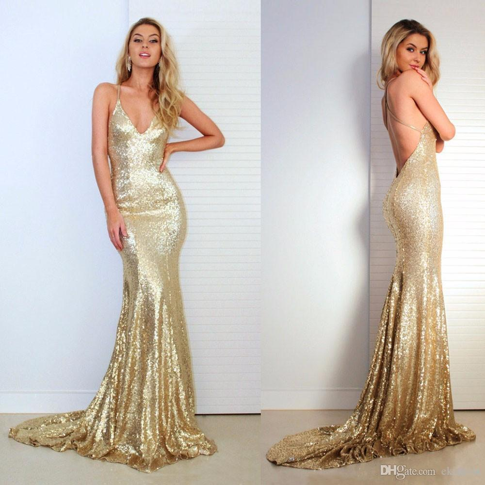 2018 Cheap Gold Sequins Spaghetti Mermaid Prom Dresses Sexy V Neck Criss-Cross Backless Evening Dresses Bridesmaid Gowns Custom Made