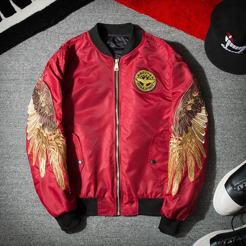 Europe et les États-Unis Street marée marque lon don garçon yeezus hommes et femmes amoureux ange ailes broderie Eagle veste vêtements de baseball