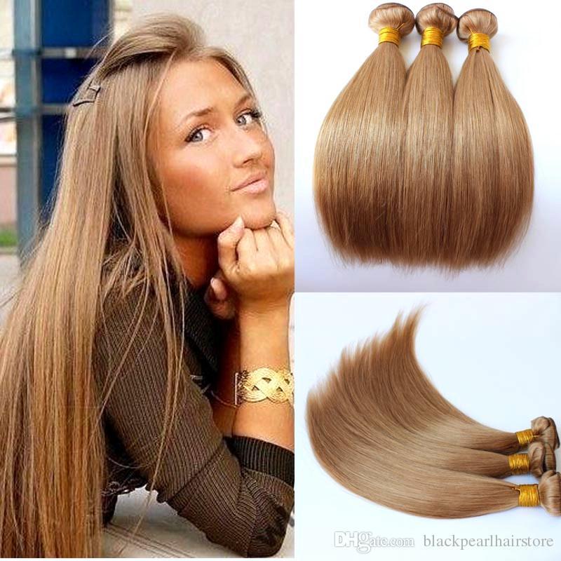 27 Honey Blonde Color Brazilian Virgin Human Hair Weave Straight