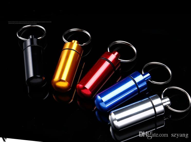 Key Holder Aluminum Waterproof Pill Shaped Mini Box Small Bottle Holder Container Keychain Keyring Keychain Metal Box Pill Case