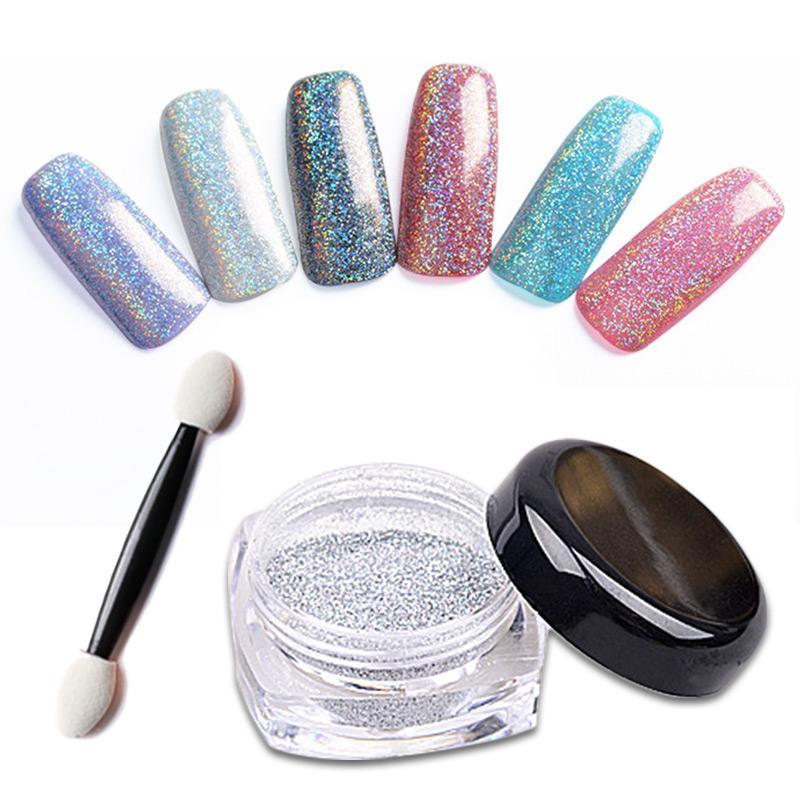 Wholesale 1g/Box Laser Silver Holographic Powder Dust For Uv Nail ...