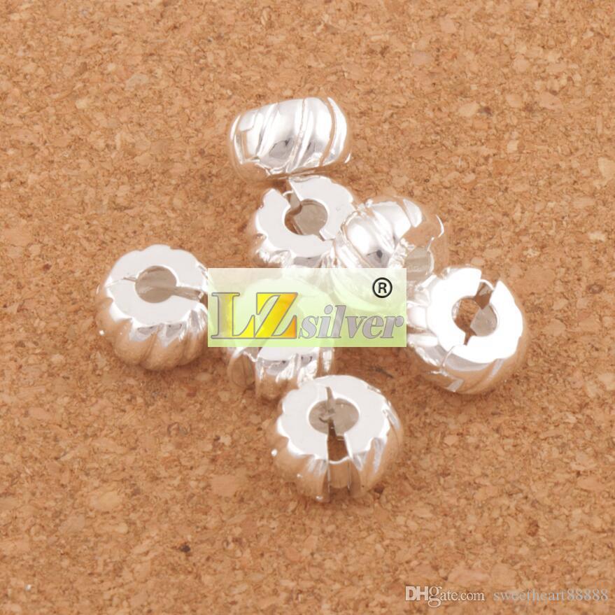10mm Silver Plated Tone Pumpkin Stoppar Big Hole Pärlor Clip 30st / Fit Europeiska Charm Armband Metaller Smycken DIY L1749