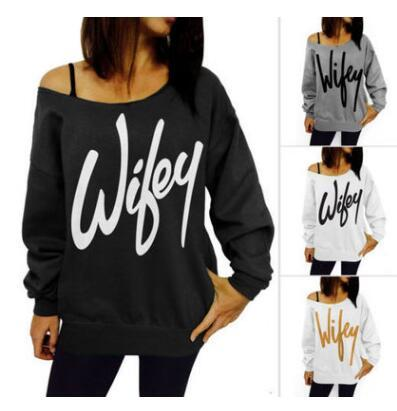 Sweatshirts Letter Printed Tops Plus Size Loose Sportswear Women Full Sleeve Jumper Oblique Collar Off Shoulder Shirts Fleece Cotton H311