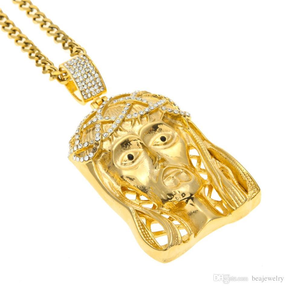 الهيب هوب الذهبي تتويج يسوع رئيس قلادة مثلج خارج مربع جوهرة كريستال قلادة مجموعة سلسلة الكوبية