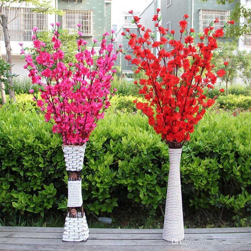 Artificial Cherry Spring Plum Peach Blossom Branch Silk Flower Tree For Wedding Party Decoration white Red Yellow Pink Wholesale