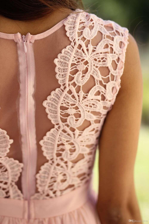 2017 elengant rosa sálvia chiffon sheer lace longo da dama de honra vestidos sem mangas zipper vestidos de festa de casamento país vestidos de dama de honra