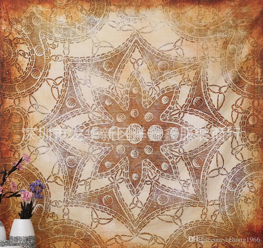 20yx Marrón Mandala Tapiz Patrón Geométrico Toalla de Playa Cuadrada Retro Toallas Suaves Europa Y Los Estados Unidos Venta Caliente