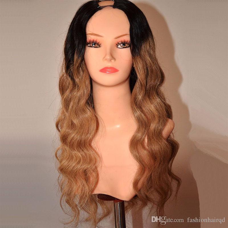 Ombre U Parçası İnsan Saç Peruk Vücut Dalga Brezilyalı Bakire Saç T1b 27 Koyu Kök Bal Sarışın Iki Ton U Parçası Dantel Peruk