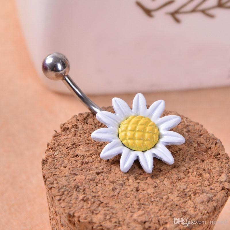 Gofuly NEW Top Brand Подсолнечное цветок Кнопка Хирургическая сталь живота кольцо Navel Пирсинг Лучший