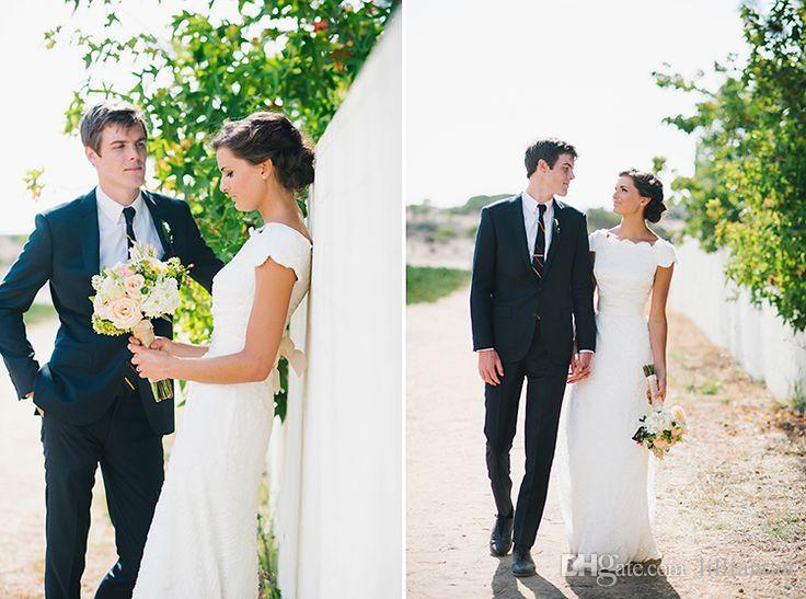 Vestidos de novia de playa elegantes Una línea de vestidos de novia de encaje Vestidos de novia de manga corta de país Vestidos De Novia