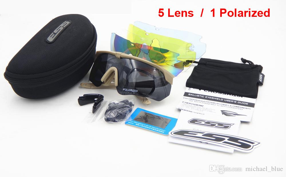5 Lens ESS Crossbow Polarized Tactical glasses Army tactical shooting eyewear TR-90 Frame UV400 Lens Bulletproof goggles