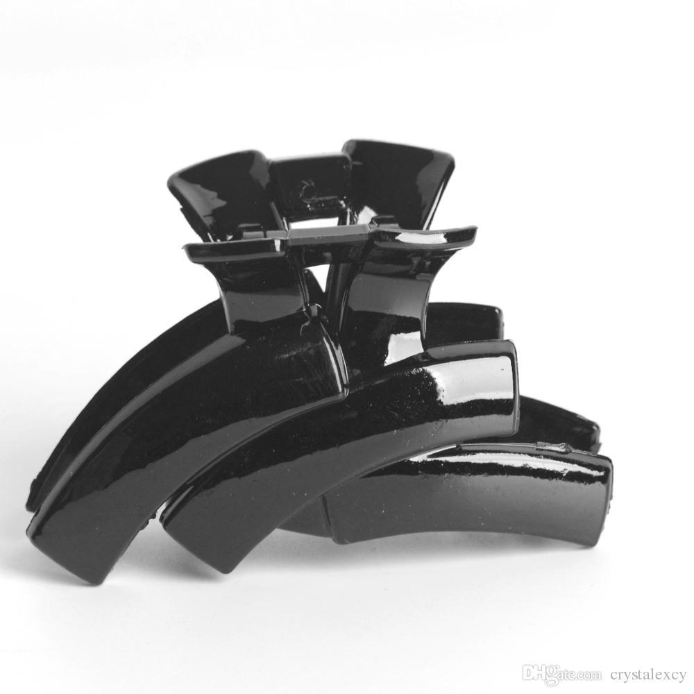 12 unids / lote Lady Garra de Pelo Garra Jaw Grip Abrazadera de Plástico Negro Clip de Cocodrilo Pinzas de Plástico Negro Headwear Postizos Regalo