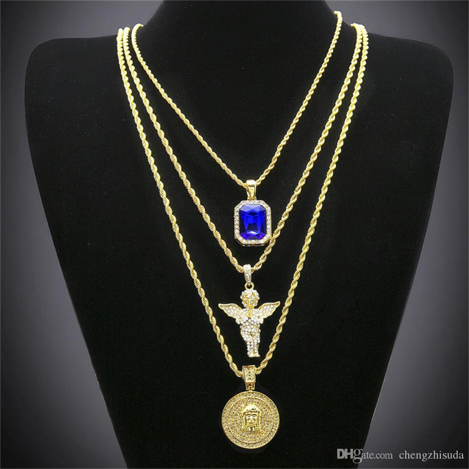 Hip Hop Gold Plated Necklace Iced Out Rhinestone Crystal Jewelry Set With Angel Jesus Pendants Necklaces Chain Hot Sale