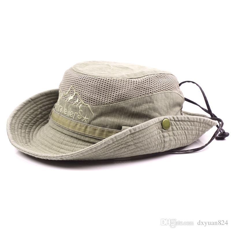 Men summer cotton cowboy sun protection hat for Fishing straw hat