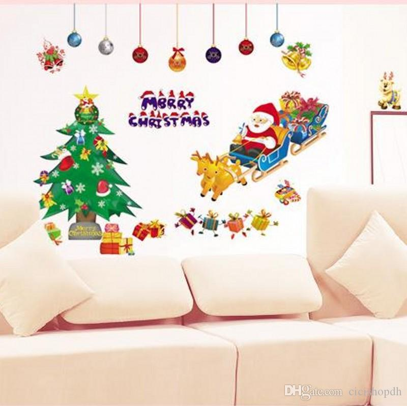 Diy Merry Christmas Wall Stickers Decoration Santa Claus Gifts - Christmas wall decals removable