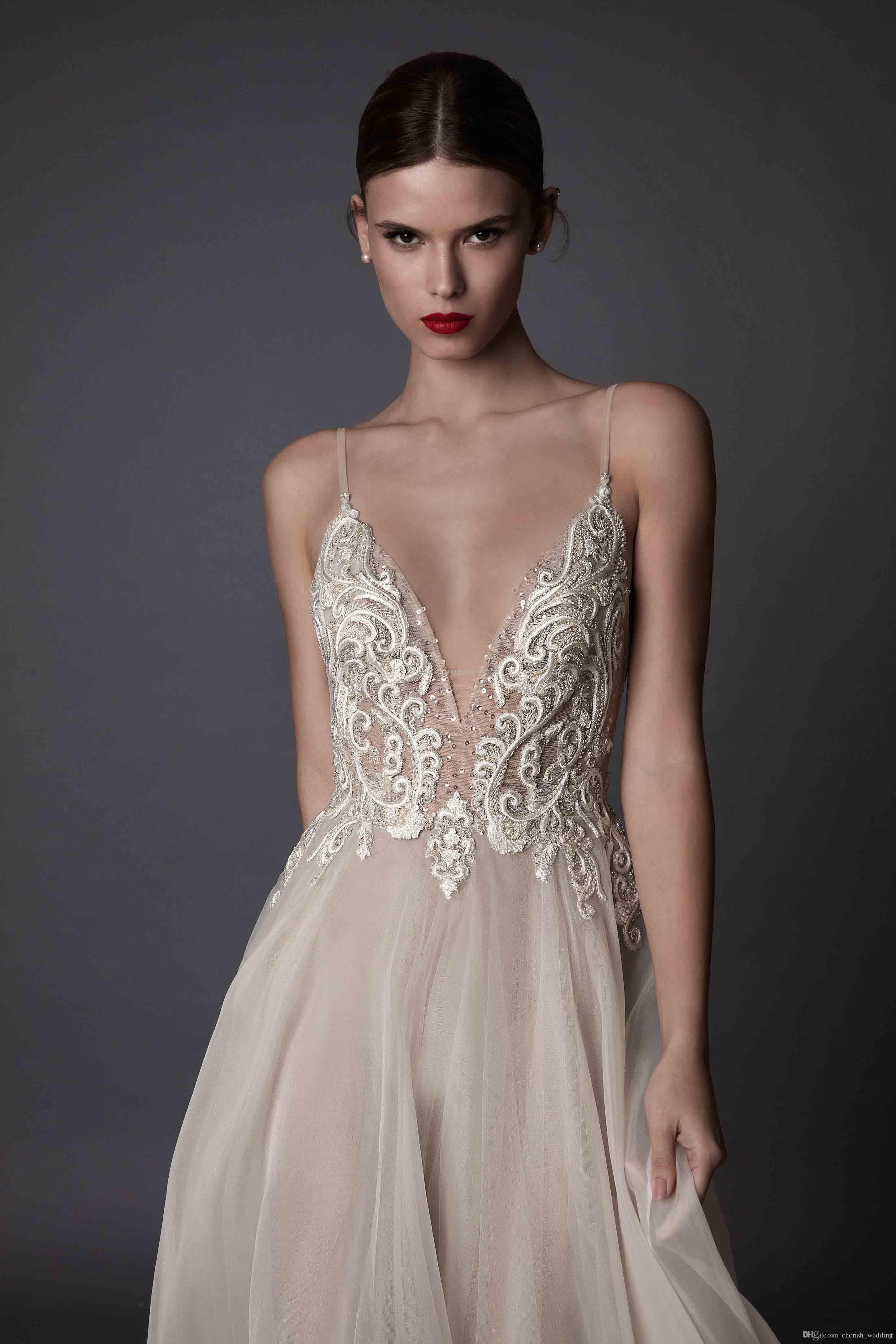 Bohemian Berta Wedding Dresses 2017 A Line Illusion Bodice Deep V neck Lace Applique Backless Spaghetti Straps Organza Bridal Gowns