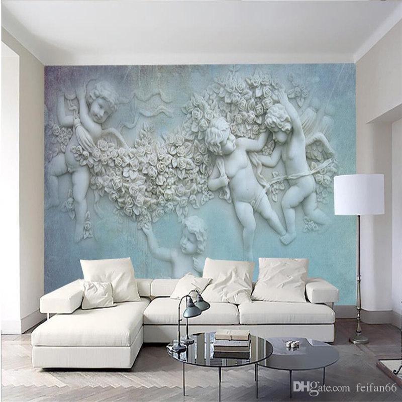 3d European small angel Cupid TV background wall custom large wall murals  silk silk wallpaper papel de parede para quarto