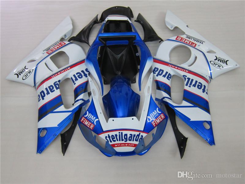 Motorcycle plastic fairings for Yamaha YZF R6 98 99 00 01 02 blue white fairing kit YZFR6 1998-2002 OT44
