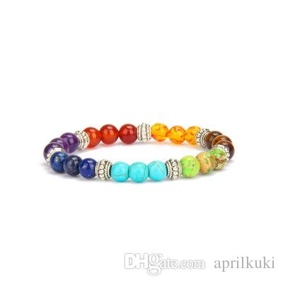 Buddha Mens Womens 7 Chakra Mischstein Heilung Chakra Pray Mala Armband Lava Rock DIY Perlen Schmuck Balancing Armbänder