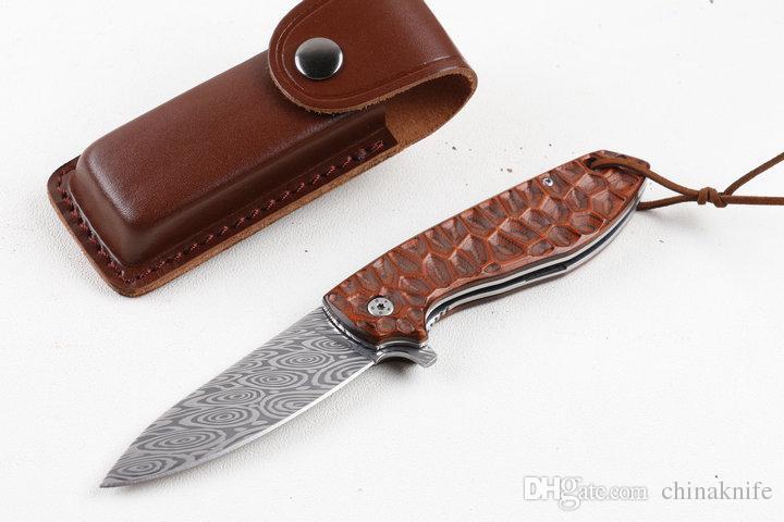 Oferta especial Faca de Damasco Flipper pó Sueco Lâmina de aço Damasco Punho de Madeira EDC Canivetes Facas Colecionáveis