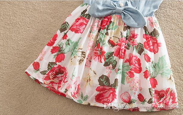 Hot Sale Baby Girls Denim Dress Floral Kids Princess Dresses Cotton Summer Girls Sleeveless Tutu Dress Fashion Party Dresses