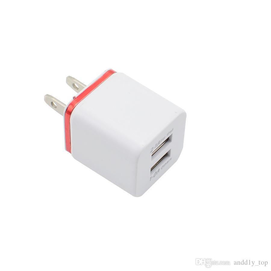 2.1A metal color ring Wall Charger us Plug Dual USB AC Power Adapter 2 ports for Samsung iphone in retail