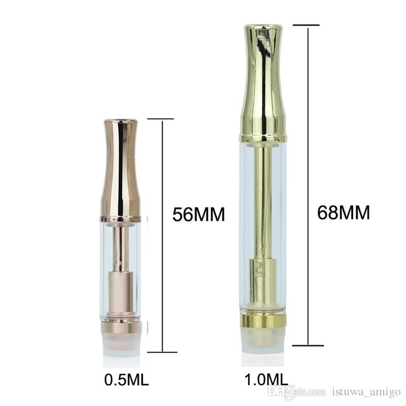 CPA3 Vaporizzatore tubo di vetro color oro Serbatoio di vetro olio denso atomizzatore in oro rosa con boccaglio rotondo 510 con punta metallica