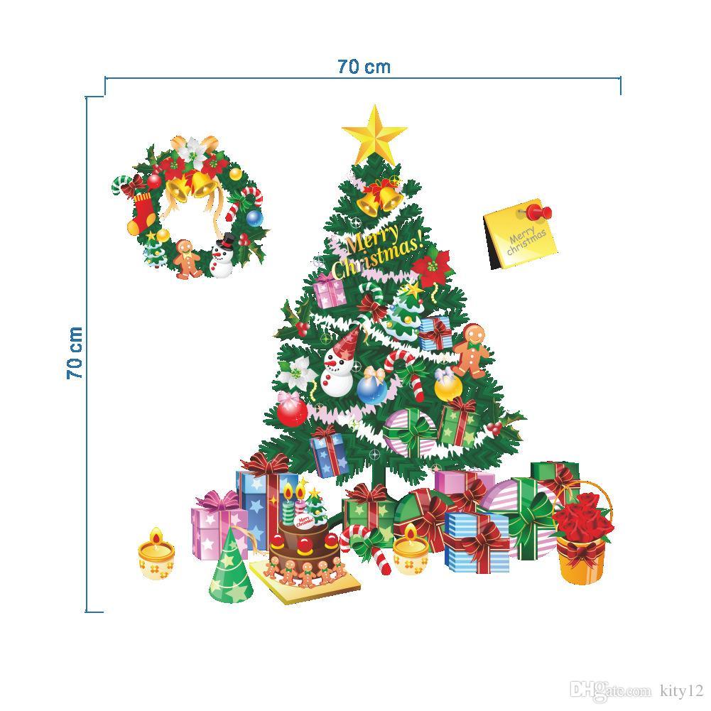 Neue Mode Weihnachtsbaum Weihnachtsmann Geschenk Wandaufkleber Abnehmbare Weihnachten tag Home Party Dekoration freies verschiffen