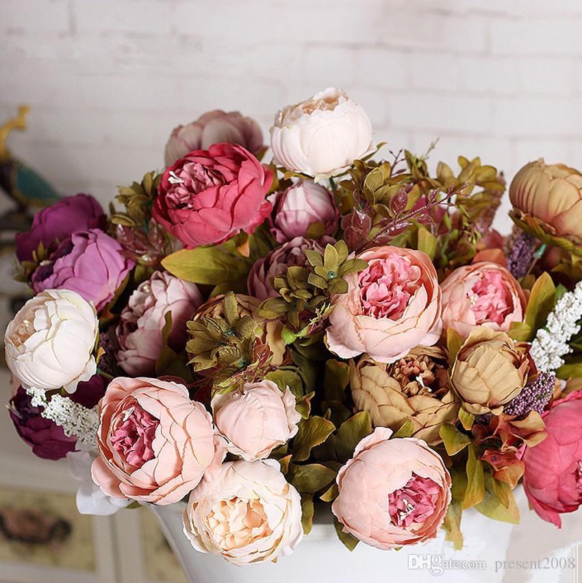 1 demet Avrupa yapay şakayık dekoratif Parti Ipek sahte çiçekler şakayık ev otel dekor Için DIY düğün Dekorasyon çelenk