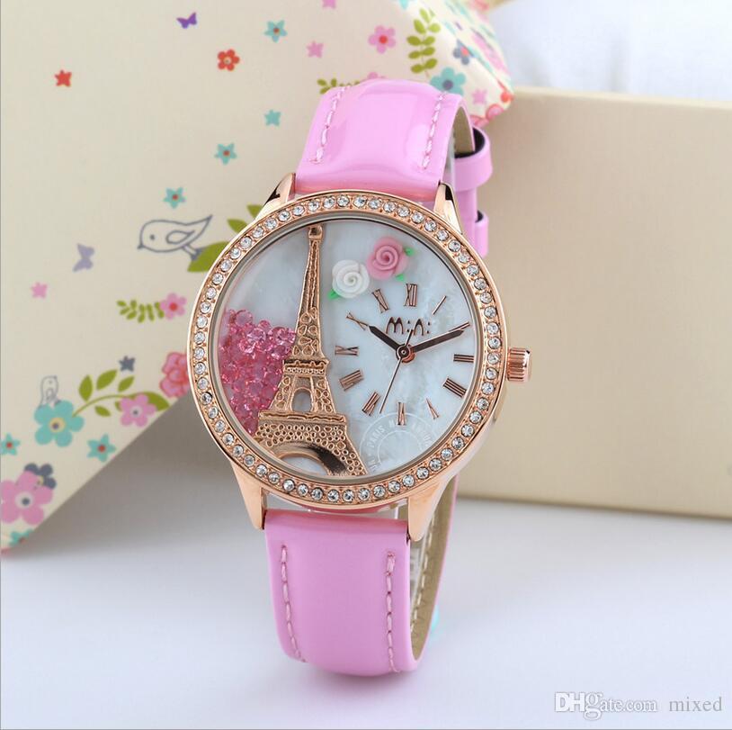 Часы MN990 Эйфелева башня Студенты Часы оптом Diamond Watch